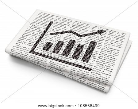 Marketing concept: Growth Graph on Newspaper background