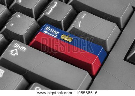 Enter Button With Lichtenstein Flag