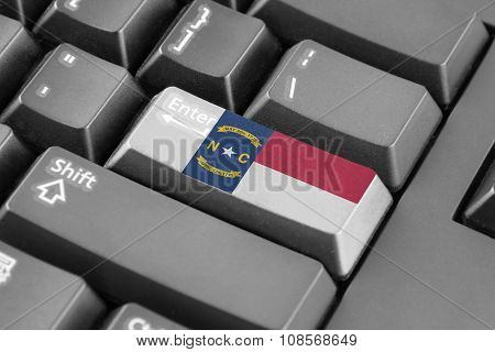 Enter Button With North Carolina State Flag