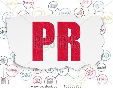 Marketing concept: PR on Torn Paper background