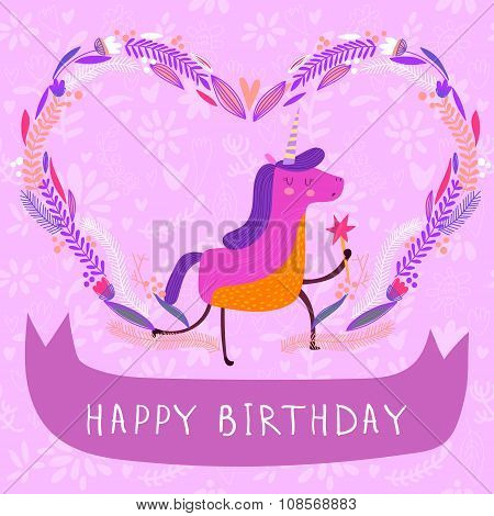 Sweet Happy Birthday Card In Cartoon Style. Cute Unicorn In Flowers In Vector.lovely Childish Card I
