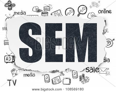 Marketing concept: SEM on Torn Paper background