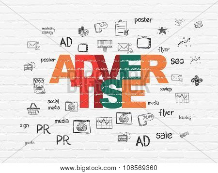 Marketing concept: Advertise on wall background