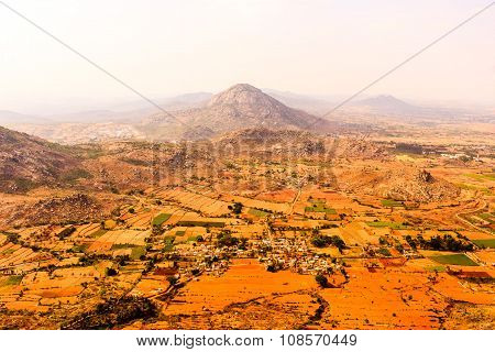 Portrait view of landscape from a very high mountain