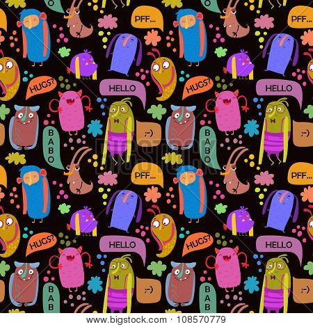 Seamless Vector Pattern With Sweet  Cartoon Monsters And Speech Bubbles. Fabulous Incredible Charact