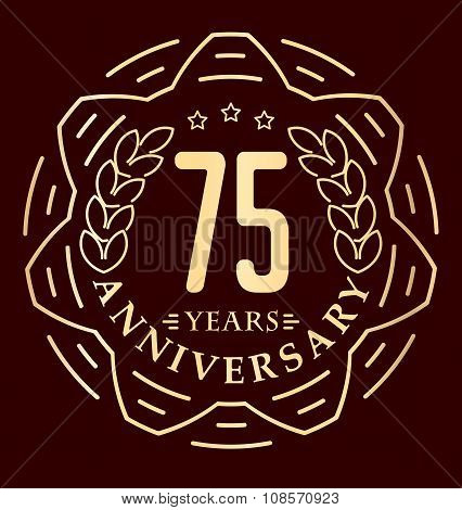 Vintage Anniversary 75 Years Round Emblem In Monoline Style. Retro Styled Vector Decor In Gold Tones