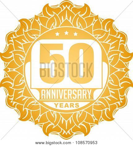 Vintage Anniversary 50 Years Round Emblem In Sun Style And Colors.