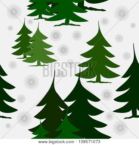 Seamless green fir trees and snow