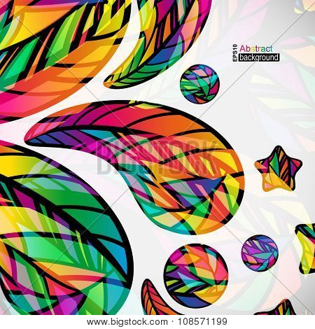 Abstract background with colorful mosaic design elements.