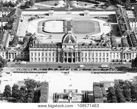 Aerial view of Ecole Militaire in Paris