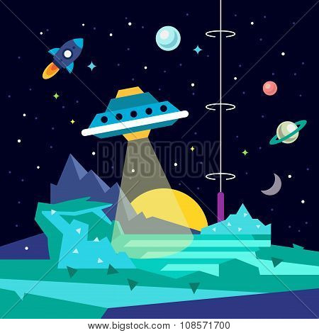 Alien space planet landscape with ufo