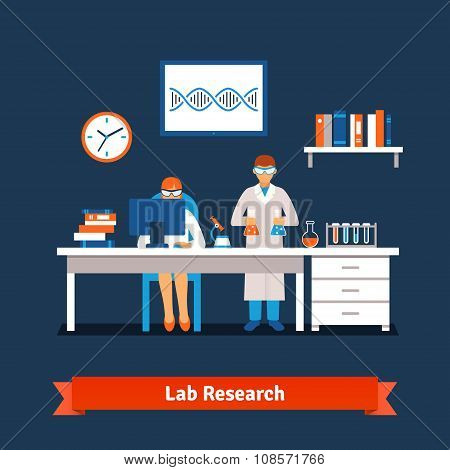 Two young chemistry scientists working in the lab