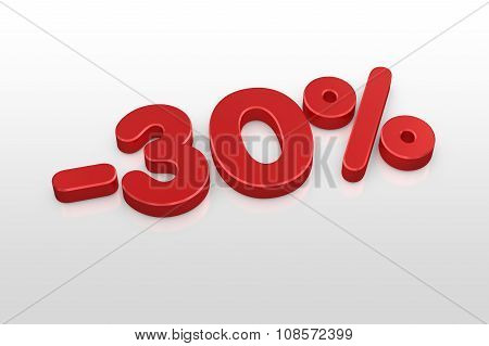 Red Thirty Percent Discount Symbol