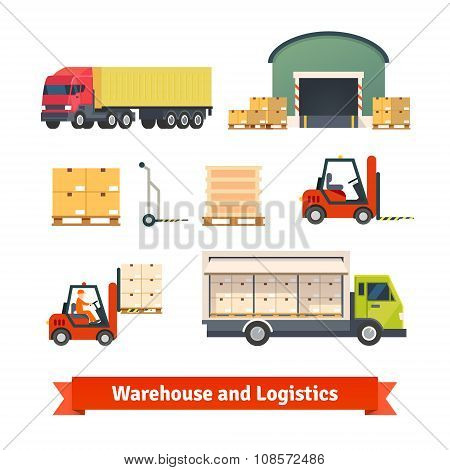 Warehouse inventory, logistics truck