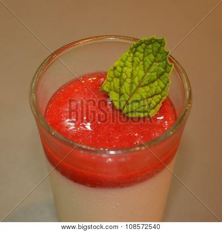Pudding Strawberry Custard Isolate On White Background