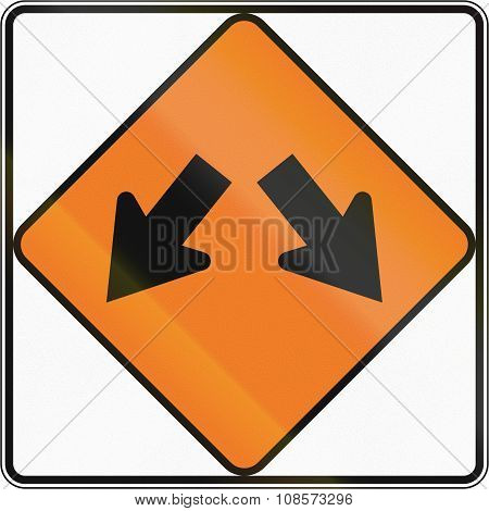 New Zealand Road Sign - Road Diverges