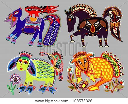 set of decorative ethnic folk animals in Ukrainian traditional k