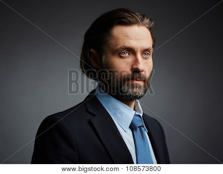 Mature and serious businessman in formal-wear