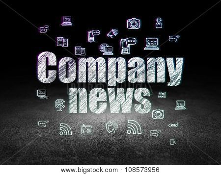 News concept: Company News in grunge dark room