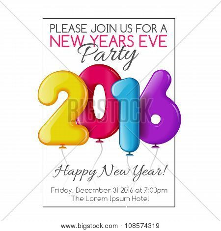 Invitation to New Year party with color balloons