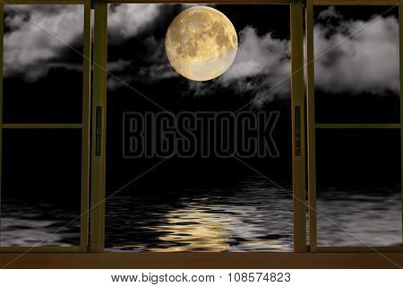 The moon in window