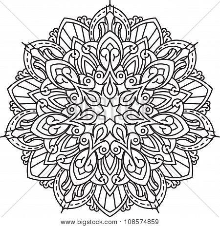 Abstract Vector Black Round, Heptagon Lace Design In Mono Line Style - Mandala, Ethnic Decorative El