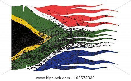 Wavy South Africa Flag Grunged