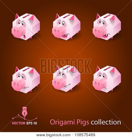 Origami Pigs Collection. Vector Icon Set