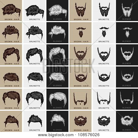 vector set of hairstyles and beards