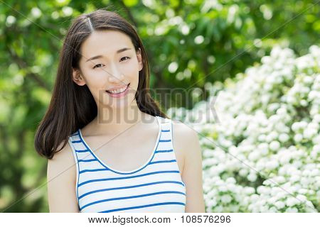 Beautiful Young Woman Enjoying In Summer