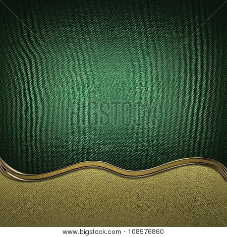 Green Abstract Background With Wavy Gold Cut. Element For Design. Template For Design. Copy Space Fo