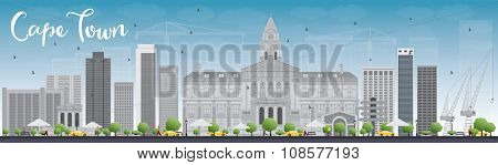 Cape town skyline with grey buildings and blue sky. Vector illustration. Business travel and tourism concept with modern buildings. Image for presentation, banner, placard and web site.