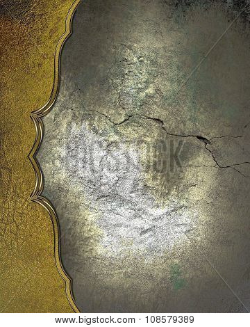 Cracked Wall With Gold Edge. Element For Design. Template For Design. Copy Space For Ad Brochure Or