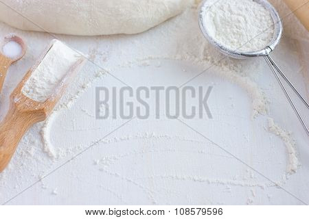 Baking Background.  Flour, Bakeware And Fresh Dough