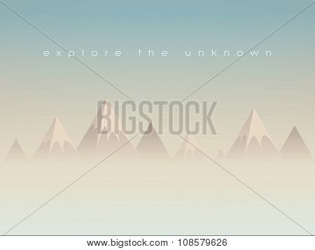 Simple low poly mountains landscape vector background. Polygonal triangles shape peaks above clouds