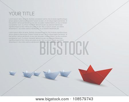 Leadership business concept vector with red paper boat leading white. Presentation template and spac