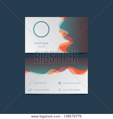 Elegant business card template with colorful background and overlay waves. User interface icons for