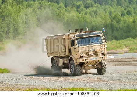 Kamaz truck in motion, Russia
