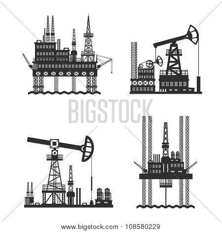 Oil Petroleum Platform Black And White