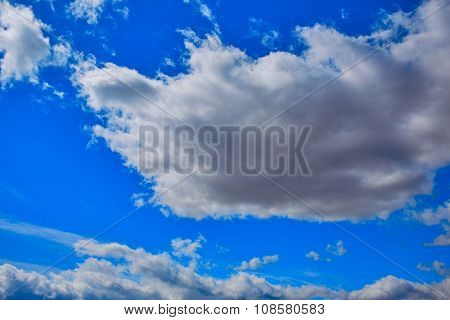 Blue sky with clouds in a summer day with dramatic shapes
