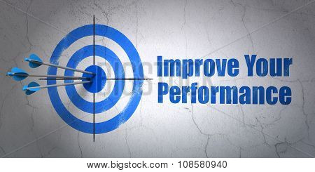 Studying concept: target and Improve Your Performance on wall background
