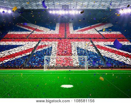 Flag England  of fans. Evening stadium arena Blue