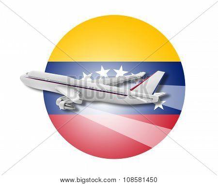 Plane and Venezuela flag.
