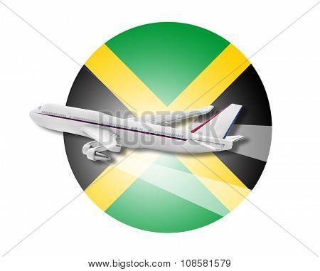 Plane and Jamaica flag.
