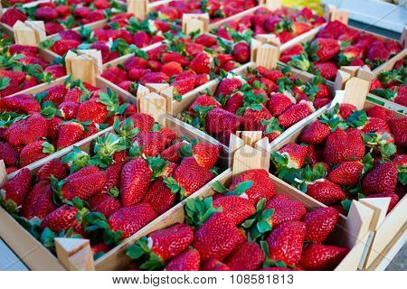 Strawberries boxes baskets texture in outdoor market