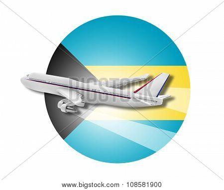 Plane and Bahamas flag.