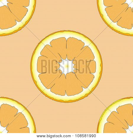 Seamless pattern with fresh ripe slice of orange