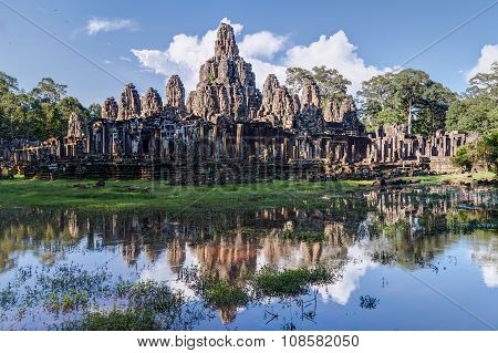 Prasat Bayon Temple In The Centre Of Angkor Thom City  Complex