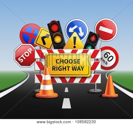 Choose Right Way Realistic Concept