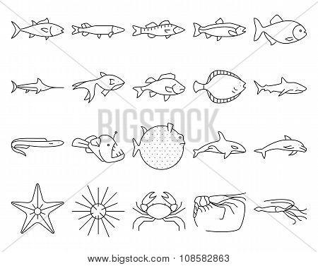 Fishes icon set